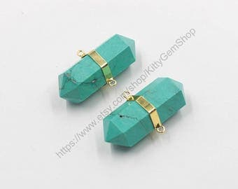 Big Turquoise Point Pendants -- With Electroplated Gold Edge Charms Wholesale Supplies YHA-270