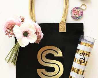Monogrammed Gold Initial Tote Bag