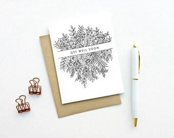Card - Get Well Soon | Illustrated Floral Card, Sickness Card, Feel Better Soon Card, Hospital Card, Cancer Card, Get Well Soon Card