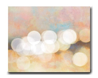 Abstract canvas art, large abstract art oversize wall art, orange pink yellow colorful home decor, bokeh lights circles, large scale art