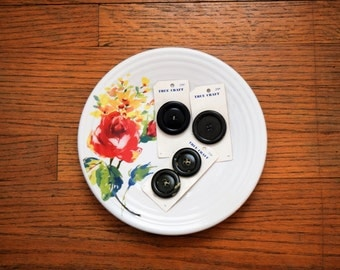 Vintage Button Cards, Large Buttons, Sewing Notions, Black, Green Plastic Buttons, Button Lot