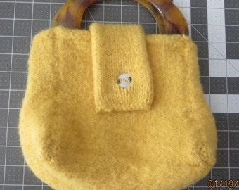 Vintage Sunshine yellow crochet or knitted purse with Lucite handle