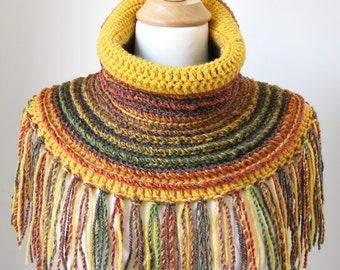 Neck Warmer Scarf, Boho Wool Shawl, Bohemian Clothing, Chunky Crochet Cowl, Unique Fringed Poncho, Mustard Yellow Tube Scarf, Fall Colors