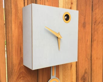Cuckoo Clock, Wall Mount with Cuckoo bird, Washed Grey with Oak Accents