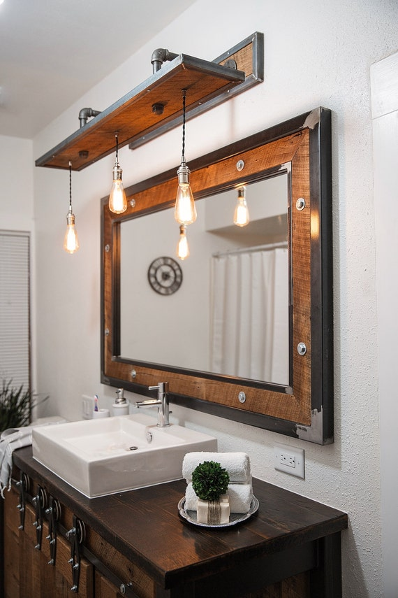 Rustic Industrial Light Steel And Barn Wood Vanity Light