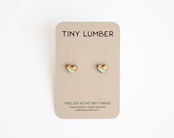 Wooden Mint Heart Earrings | Wood Earrings | Rustic Wedding Earrings for Bridesmaids | Hypoallergenic Earring Stud | Titanium Earring Studs