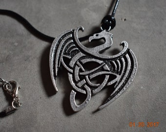 Celtic Knot Dragon Pendant Necklace. Metal Casted Mythical Dragon Charm Jewelry Skyrim Inspired Alduin Paarthurnax Dragons Icovellavna