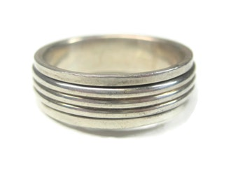 Mens Vintage Sterling Spinner Worry Band Ring Size 14