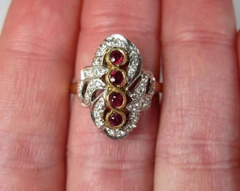 14K Two Tone 4 Stone Ruby and Diamond Ring Size 6