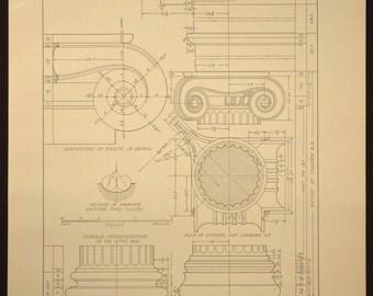 Column Print Detail Greek Ionic Antique Architectural Book