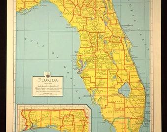 Colorful Yellow Vintage Florida Map Florida Wall Art Colored