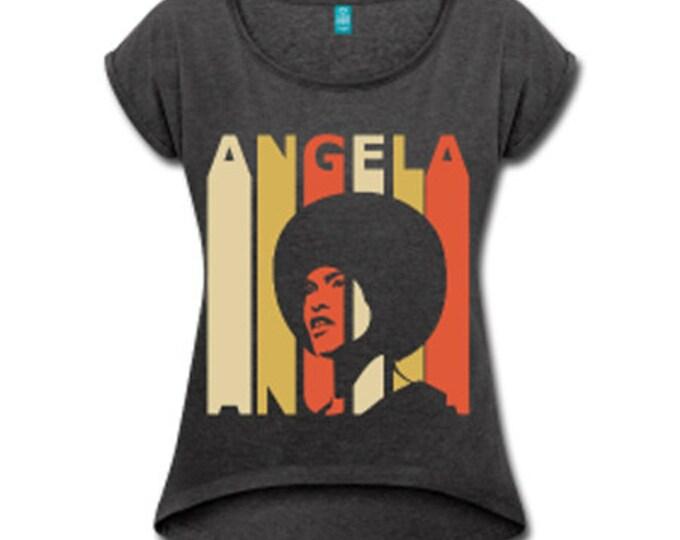 Angela Davis Women's Rolled Sleeve High Low T-shirt - Graphite Gray