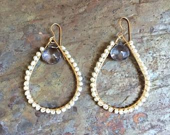 Gold hoop statement earrings with freshwater pearls and iolite gemstones