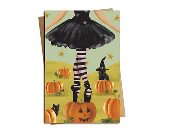 Ballet Witch Halloween Card