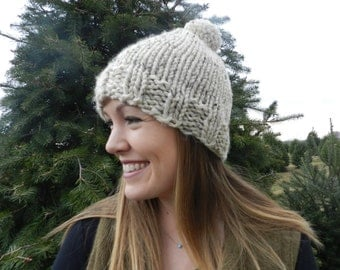 Chunky Knit Hat with Pom Pom