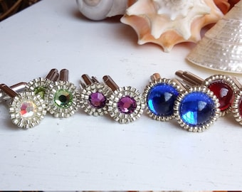 Silver Plated Crystal Glass and Beaded Cufflinks Handmade