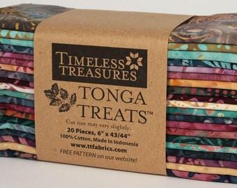"Zanzibar ""6-pack"" Batik Fabric Strips; 6"" x 43""; 20 Strips; Tonga Treats 6Pack Timeless Treasures; Precut Fabric"