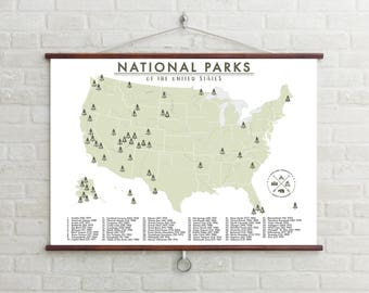 National Parks Map of the United States - American National Parks - Outdoor Map - Hiking Map - Explorers Map - Adventure Map