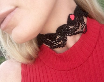 Handmade Black Lace Choker, Red Heart Patch, Boho, Festival, Goddess, Victorian, Gothic, Sexy, Statement, Royal  (Delicate Dance Choker)