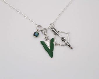 Green Arrow Pendant DC Comic Inspired Jewelry Sterling Silver Necklace Oliver Queen Green Arrow Charm Justice League Geek Comic Book Nerd