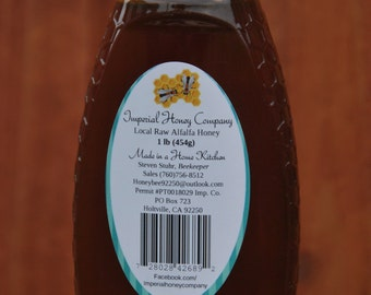 1 lb- Pure, All Natural Raw Alfalfa Honey in Squeezable Bottle