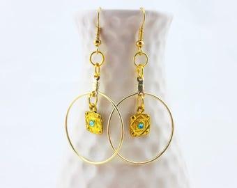 gold hoop earrings - gold dangle earrings - blue crystal gold hoop earrings - egyptian earrings - gold egyptian earrings - blue earrings