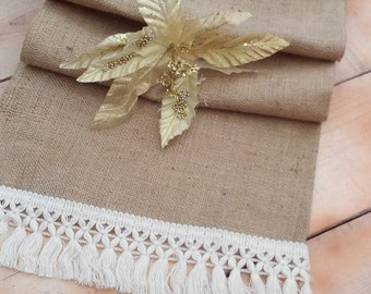 Burlap Runner - Burlap Runner with Fringe - Rustic Runner - Christmas Table Runner - Wedding Runner - Home Decor - Table Runner