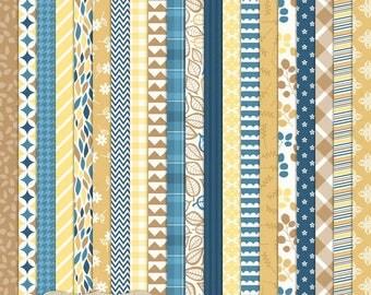 "Digital Printable Scrapbook Craft Paper - Autumn Breeze - Fall Thanksgiving Navy Blue Brown Yellow Bronze - 12 x 12"" - PU/CU Commercial Use"
