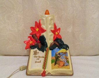 Ceramic Christmas Candle, Atlantic Mold Candle Book, Vintage Nativity Candle, Lighted Ceramic Christmas Candle, The Lamb Of God, Poinsettia