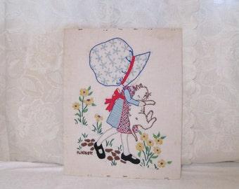Vintage Holly Hobby, Kitty Cat, Needlepoint, Finished Embroidery, Sunbonnet Girl, Kitten, Holly Hobbie, Vintage Needlepoint, Unframed