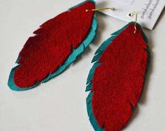 Red and Turquoise Leather Feather Earrings