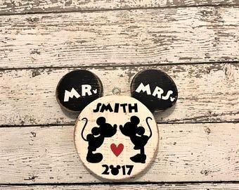 Disney Wedding | Mr and Mrs Mickey Minnie Bride Groom | Disney Christmas Ornament | Disney Wood Ornament | Wedding Shower Gift