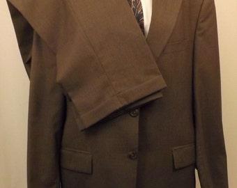 80s Ralph Lauren Chaps Mens Brown Tattersall Wool Suit Size 42R