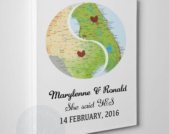 Engagement gift map, Engagement gifts for couple, Engagement gifts for best friend, Engagement gifts for her, Engagement gift, RockinCanvas
