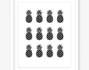 Printable pineapple print - pineapple wall decor - black and white print - pineapple printable poster - kitchen print - DIGITAL DOWNLOAD