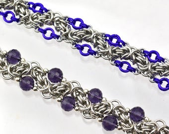 Chainmaille Kit: Zig Zag Byzantine - Double Bracelet Kit - Aluminum - Intermediate - Instructions sold separately