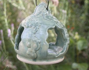 Green Hanging Bird Feeder ceramic handmade bird feeder pottery garden art decor garden gift for him or her housewarming gift for bird lover