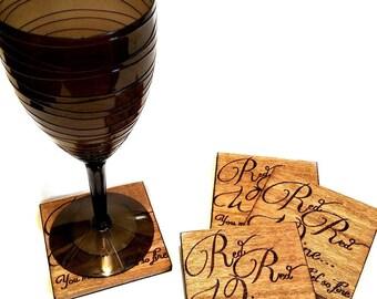 "Set of 4 ""Red Red Wine..."" hand engraved wood coasters - songs - lyrics - UB40"
