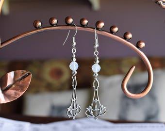 White Opal Swarovski Elegant Earrings (04)