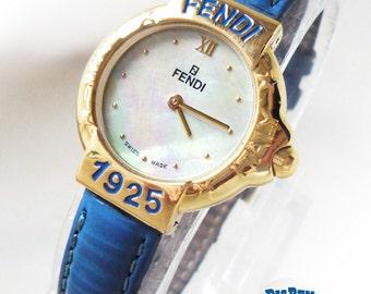 Ladies FENDI 430L Mother-of-Pearl Blue/Gold RUNWAY Designer Watch