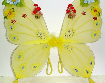 Adult Fairy Wings Child Fairy Wings Butterfly Wings SUNSHINE YELLOW Wings Fairy Costume Jewled Wings Fairy Wand Option