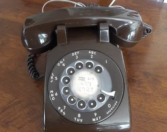 Vintage 1960's Brown Rotary Telephone by Stromberg Carson / Made in U. S. A.