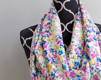 ON SALE The Kathleen Floral Spring Infinity Scarf Lightweight Flower Scarves for Women Small Print Stretchy Summer Scarf Silky Pastel Gift