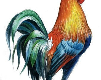 Gallic Rooster watercolor