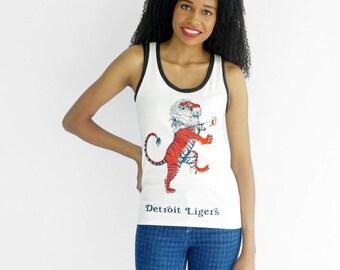 Detroit Tank Top, Tigers, Lions, Ligers, Organic Cotton, Mens, Womens, Graphic Shirt, Handmade Clothing, Screen Print, Orange, Navy Blue