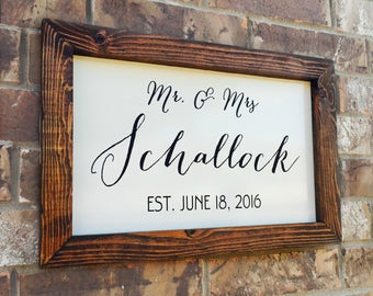 Rustic Last Name Sign Unique Wedding Gifts For The Couple Elegant Family Name Sign With Plaque 12x18