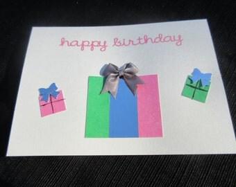 Happy birthday card with bow Blank Inside