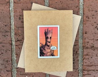 """Marvel Groot """"I am Groot"""" (Guardians of the Galaxy)  Comic Book Greeting Card (Blank)"""