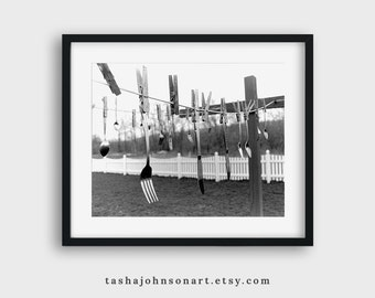 Hanging Silverware on a Clothesline – 8x10 Print – Black and White Photograph – Dining – Laundry