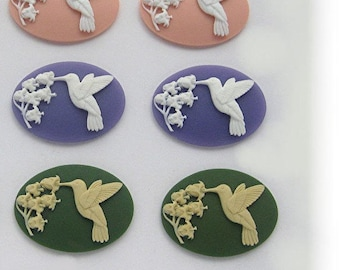 10 Multi Color HUMMINGBIRD LILY of the VALLEY Flowers 2 of each Cameo 40mm x 30mm Cameos Humming Bird Horizional or Vertical Costume Jewelry